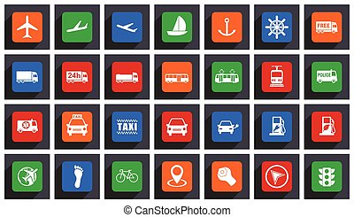 Transportation flat design vector icons. Set of airplanes, cars, trains, bus, tram, police, ship, taxi, bicycle and other travel signs in eps 10.