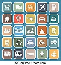 Transportation flat icons on blue background