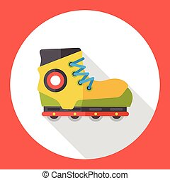 Transportation flat roller skate icon