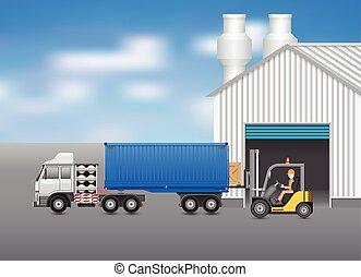 Transportation - Forklift transfer wood crate into truck ...