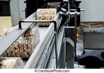 transportation from one process to another on food production line. Modern equipment food industry