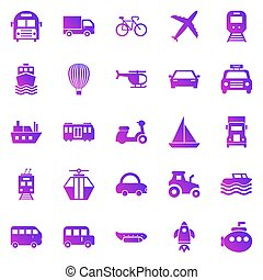 Transportation gradient icons on white background