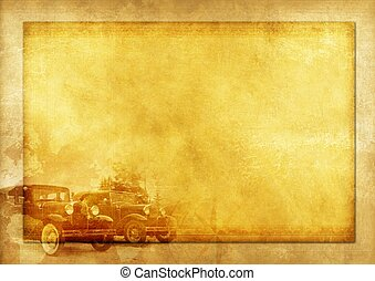 Transportation History Vintage Background Illustration with Two Classic Cars.