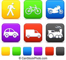 Transportation icon on internet buttons Original vector...