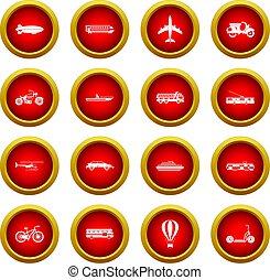 Transportation icon red circle set