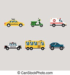 Transportation Icon Series in Flat Colors Style