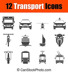 Transportation Icon Set in Front View