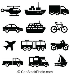 Transportation icon set on white background