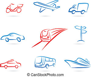 Transportation icons and logos - Collection of line-art...