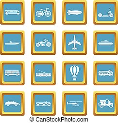 Transportation icons azure
