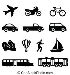 Transportation icons in black - Icons for various means of ...