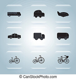 transportation icons over blue backg