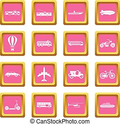 Transportation icons pink