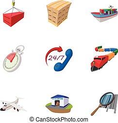 Transportation icons set, cartoon style