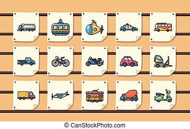 Transportation icons set, eps10