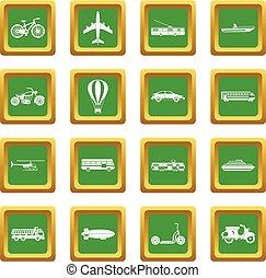 Transportation icons set green