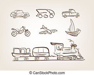 Transportation icons set on white background