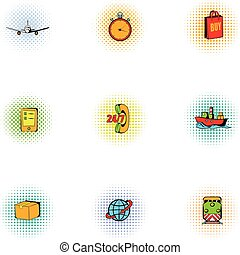 Transportation icons set, pop-art style