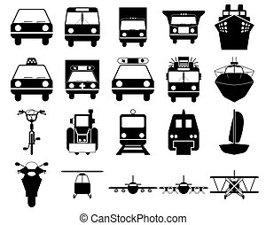transportation icons set - Transportation set of different ...