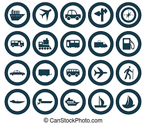 Transportation set of different web icons