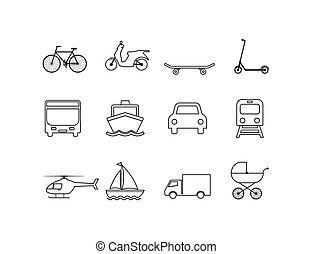 Transportation icons set. Vector illustration, flat design.
