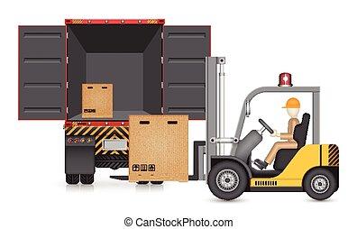 Illustration of forklift transfer carton into truck.
