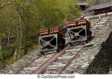 Transportation incline. - Two trolleys with crates of cut...