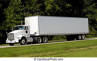 A 18-wheel truck on a highway, transportation industry