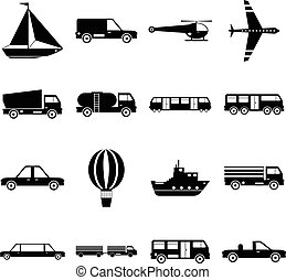 Transportation items icons set, simple style
