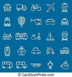 Transportation line color icons on blue background