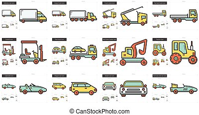 Transportation line icon set.