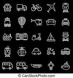 Transportation line icons on black background