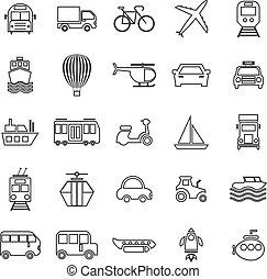 Transportation line icons on white background