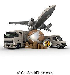 Transportation logistics - A messenger with a world map, a...