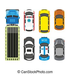 Transportation means set in colors isolated on white - ...