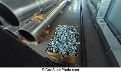 Transportation of forklift parts in production