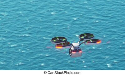 Transportation of people by air. Individual taxi. flight over the sea. High quality 4k footage