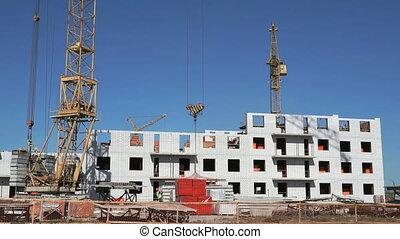 Transportation of the concrete slab using a crane