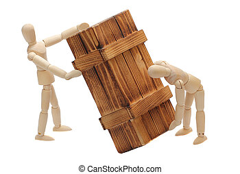 transportation of wooden box by dolls