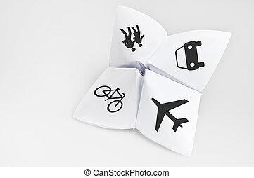 Transportation options on fortune teller paper