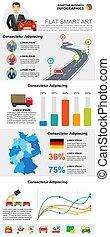 Transportation or statistics concept infographic charts set