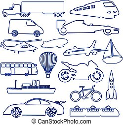 transportation outline blue simple icons set eps10