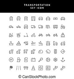 transportation outline icon set