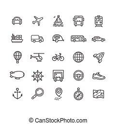 Transportation Outline Icon Set. Vector