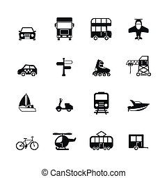 Transportation pictograms collection of aircraft boat yacht ...
