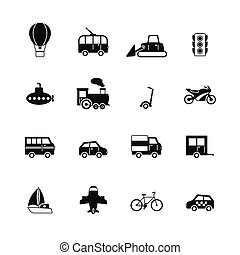 Transportation pictograms collection of passenger train tram...