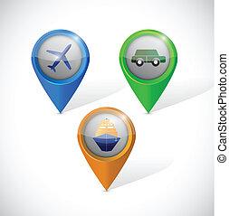 transportation pointers illustration design