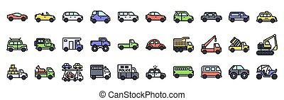 Transportation related vector icon set, filled style