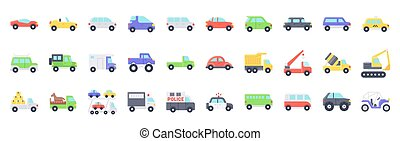 Transportation related vector icon set, flat style