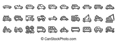 Transportation related vector icon set, line style